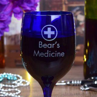Engraved Medicine Blue Wine Glass