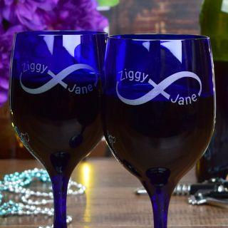 Engraved Infinity Blue Wine Glasses (Set of 2)