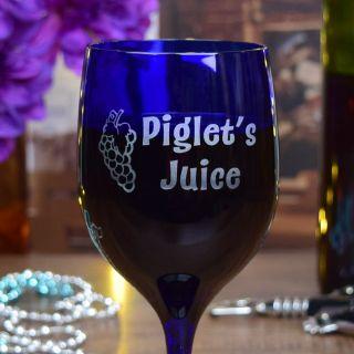 Engraved Juice Blue Wine Glass