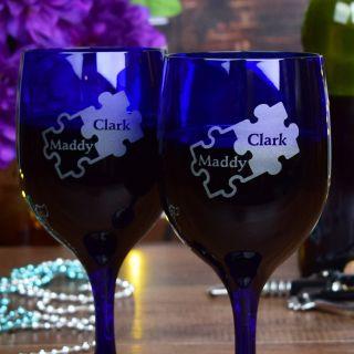 Engraved Puzzle Blue Wine Glasses (Set of 2)