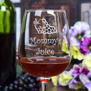 Engraved Juice Contour Wine Glass