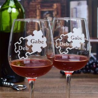 Engraved Puzzle Contour Wine Glasses (Set of 2)