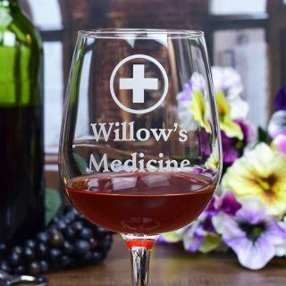 Engraved Medicine Contour Wine Glass