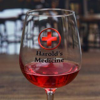 Printed Medicine Contour Wine Glass