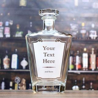 Engraved Label Tall Liquor Decanter