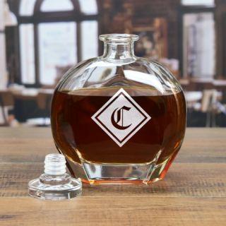 Engraved Silhouette Monogram Liquor Decanter