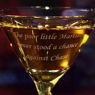 Engraved Poor Little Z-Stem Martini Glass
