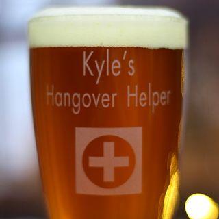 Engraved Hangover Helper Pilsner Glass