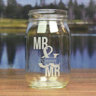 Engraved Couple Round Mason Jar