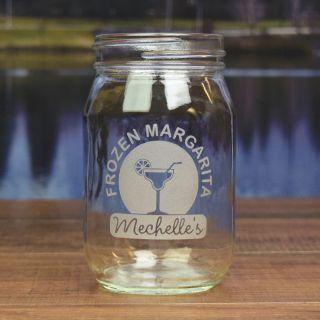 Engraved Summer Drink Round Mason Jar