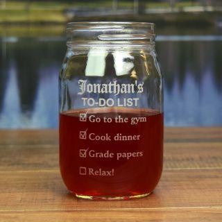 Engraved To-Do List Round Mason Jar