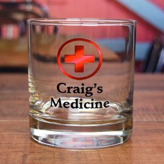 Printed Medicine Rocks Glass
