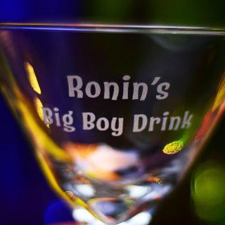 Engraved Big Boy / Big Girl Z-Stem Martini Glass