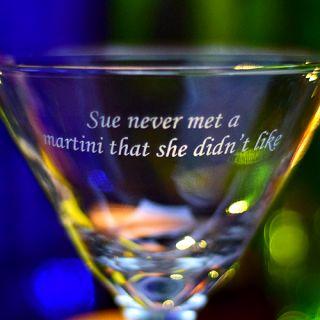 Engraved Never Met Z-Stem Martini Glass